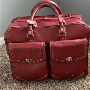 Franklin Covey Rolling Laptop Briefcase - Deep Red